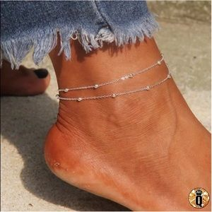 ⚜️[𝟯/$𝟭𝟴]⚜️2 Layered Silver Dainty Anklet NEW